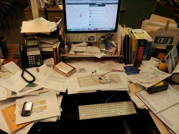 messy desk, clutter, disorganization